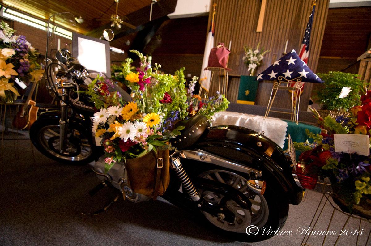 Broncos  Harley Funeral Flowers  Vickies Flowers
