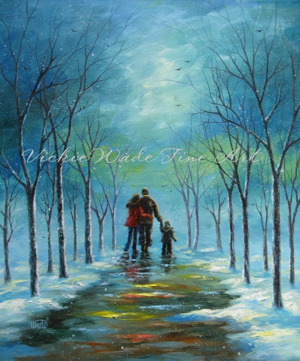 Painting Couple Walking Winter