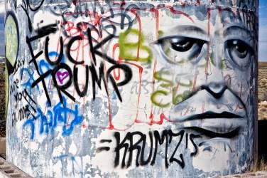 Topical graffiti at Two Guns ghost town