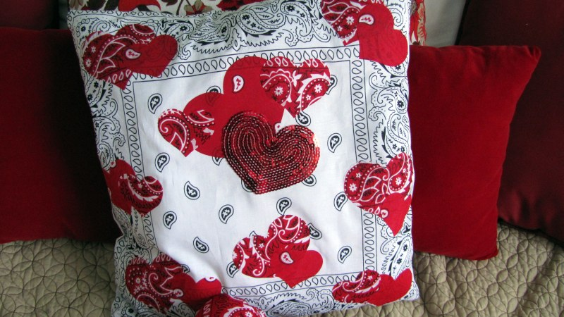 Valentine's Day Home Decor Toss Pillows – Large Square Bandanna