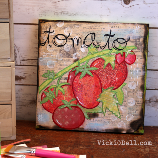 Garden Inspired Mixed Media Art – Tomato