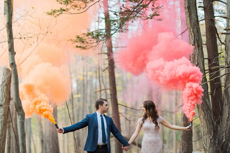 Whimsical Forest Smokebomb Engagement  Vicki  Erik Photographers