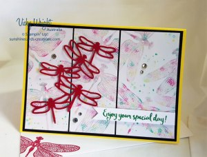 Draonfly Dreams, Detailed Dragonfly Thinlits, Baby Wipe Technique, Stampin' Up! #dragonflydreams #freetutorial #makeacardsendacard #babywipetechnique #vickywright #stampinup