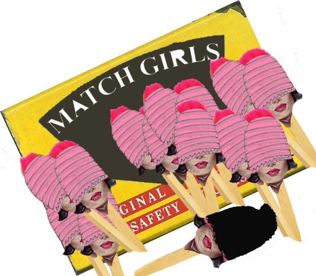 13 Match Girls, Scanned BRYMAY Match Box Manipulated Using Adobe Photoshop