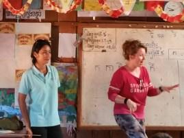 Gail telling Three Little Pigs, Leak translating