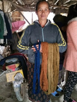Showing the different colours of yarn