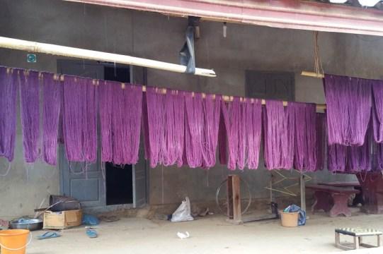 Indigo yarn drying