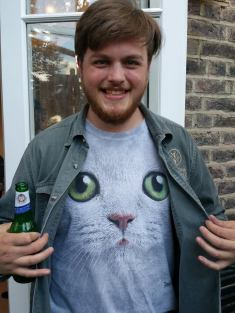 Tom C sports a cat t-shirt in honour of PomPom