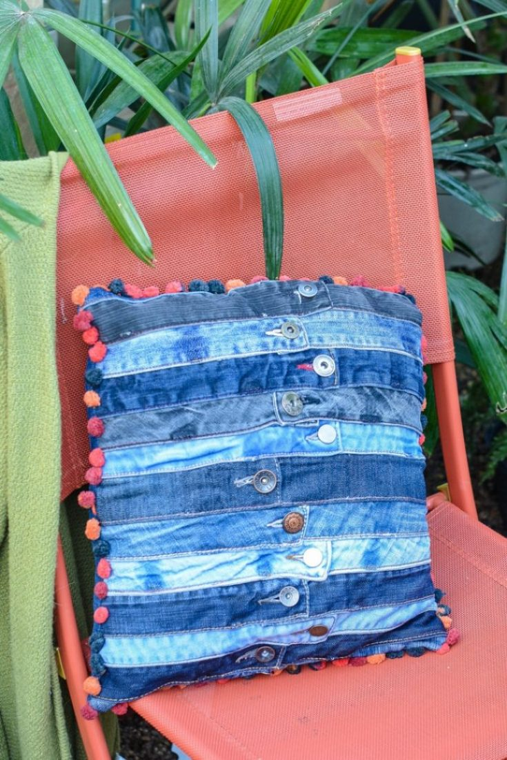 Sewing tutorial: DIY denim cushion from jeans waistbands