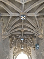 a typical gothical ripped vault with college crests as keystone