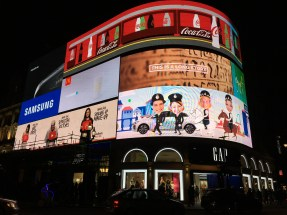 The big screen on Piccadilly Circus