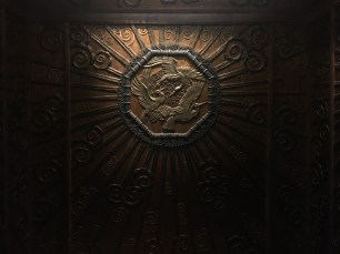 One of the original bronze lifts which were installed in 1928 in the department store Selfridge
