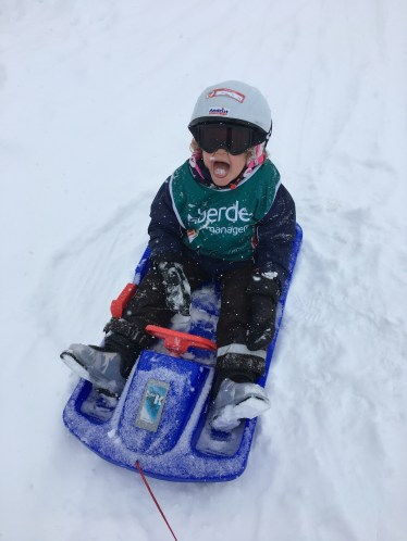 L enjoyed his first snowfall