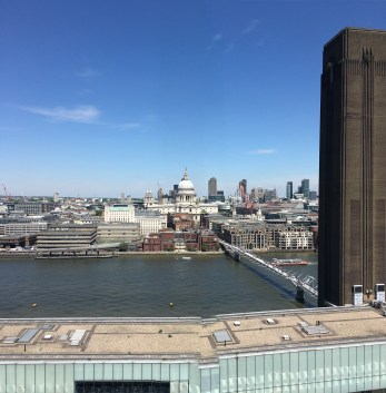 Looking past the Chimney of the Tate Modern power station building towards St Paul's Cathedral