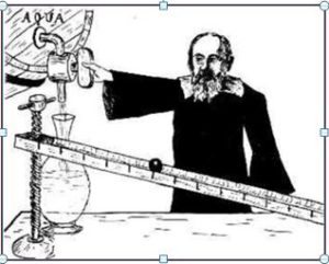 Galileo estudiando la caída de una bola por un plano inclinado