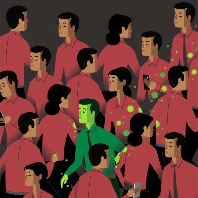 Illustration inspirée par la crise du covid 19, on y voit un homme en vert contaminer une foule en rouge