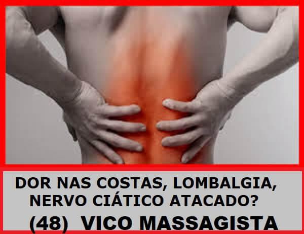 Massagem terapêutica para dores nas costas em São José SC - Tratamento e alívio da dor: nervo ciático, dor nas costas, dor na coluna, dor lombar, torcicolo, hérnia de disco, dor no ombro, dor no pescoço, nevralgia, dor no joelho, dor no pescoço. Vico Massagista e Quiropraxia, São José SC, Massagem e Quiropraxia - profissional com mais de 29 anos de experiência e atuação na área de recuperação física, tratamento e alívio da dor. Local de Atendimento: Rua Arnoldo Bonckewitz, 29 - centro, São José (SC)