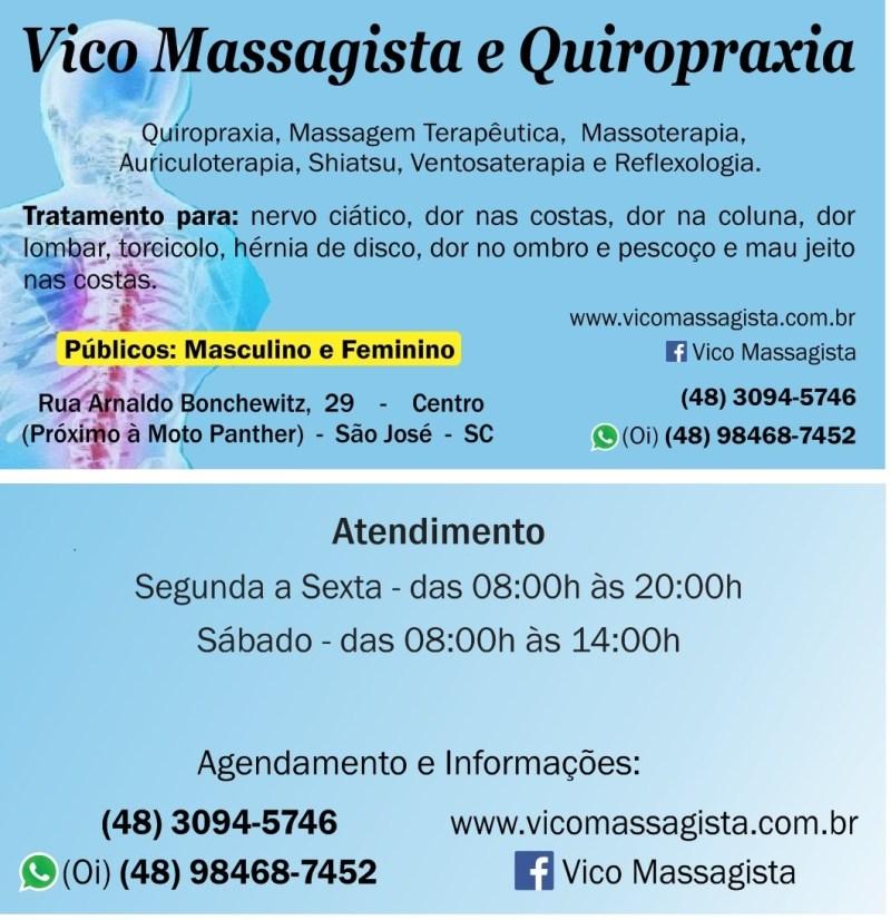 Vico Massagista e Quiropraxia em São José SC de segunda a sábado com hora marcada - Massagem Terapêutica, Massoterapia, Ventosa-Terapia, Shiatsu, Do-In e Reflexologia