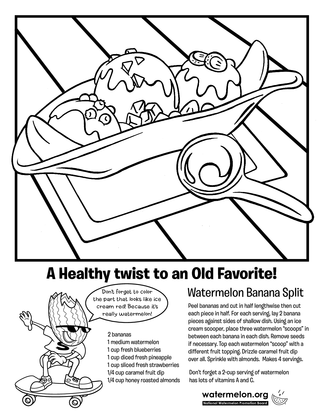 Brilliant Image Of Banana Split Coloring Page