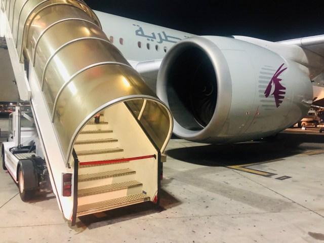 Massive Turbine des Qatar Airbus Airways A350-900