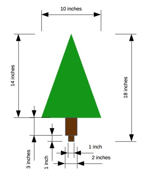The dimensions of each wooden tree branch and trunk