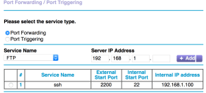 A completed port forwarding setup screen from a Netgear router
