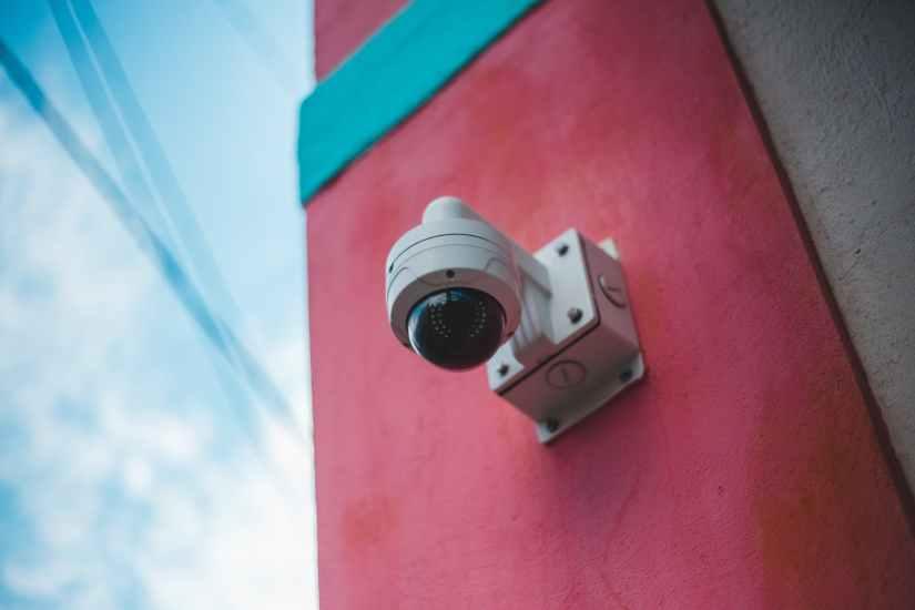 a close up shot of a security camera