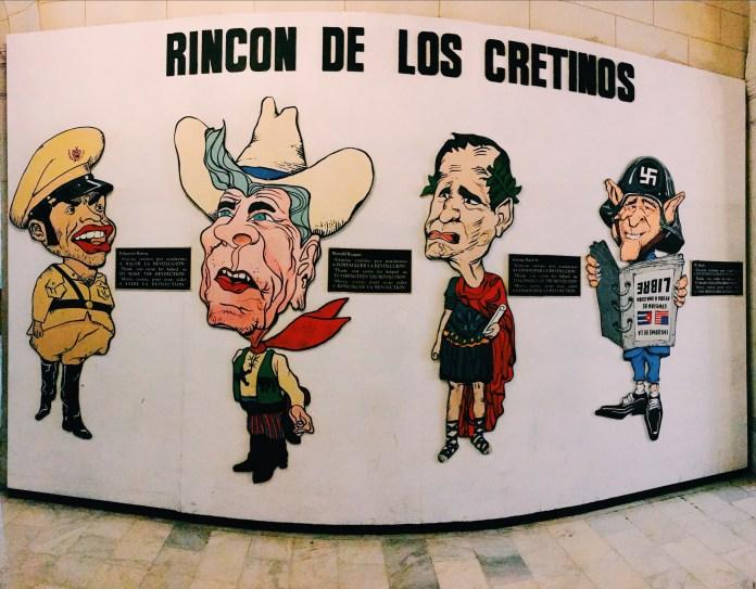 A panorama of Cuba's enemies, including Fulgencio Batista, Ronald Reagan, and both Bushes.