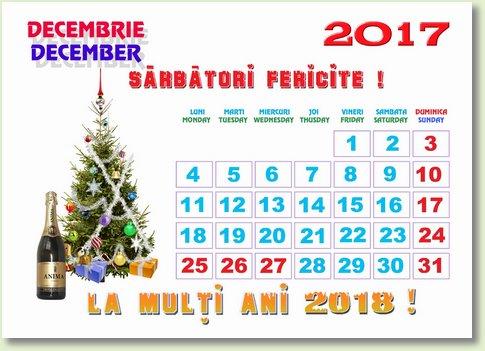 Calendar decembrie 2017