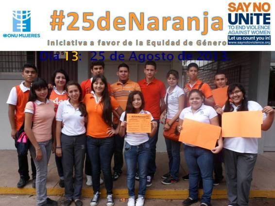 Estudiantes del CBTIS No. 188 apoyando #25deNaranja.