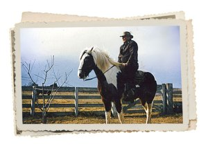 Frank Hanson, my grandfather, riding Paint in Kingsburg, California, in 1959.