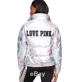 Large Limited Edition Victoria's Secret PINK Fashion Show Metallic Puffer Jacket