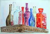 Glass Bottles on Antique Closet 2015