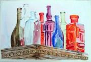 Glass Bottles on Antique Closet 2015