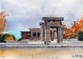 Templo de Debod Madrid, Spain 2014 - Watercolor on Arches 300 GMS - 5.5 in x 7.5 in - 14 cm x 19 cm