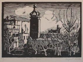 La Certosa woodcut by Margaret J. Patterson