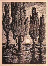 Poplars at Moonrise by Birger Sandzen