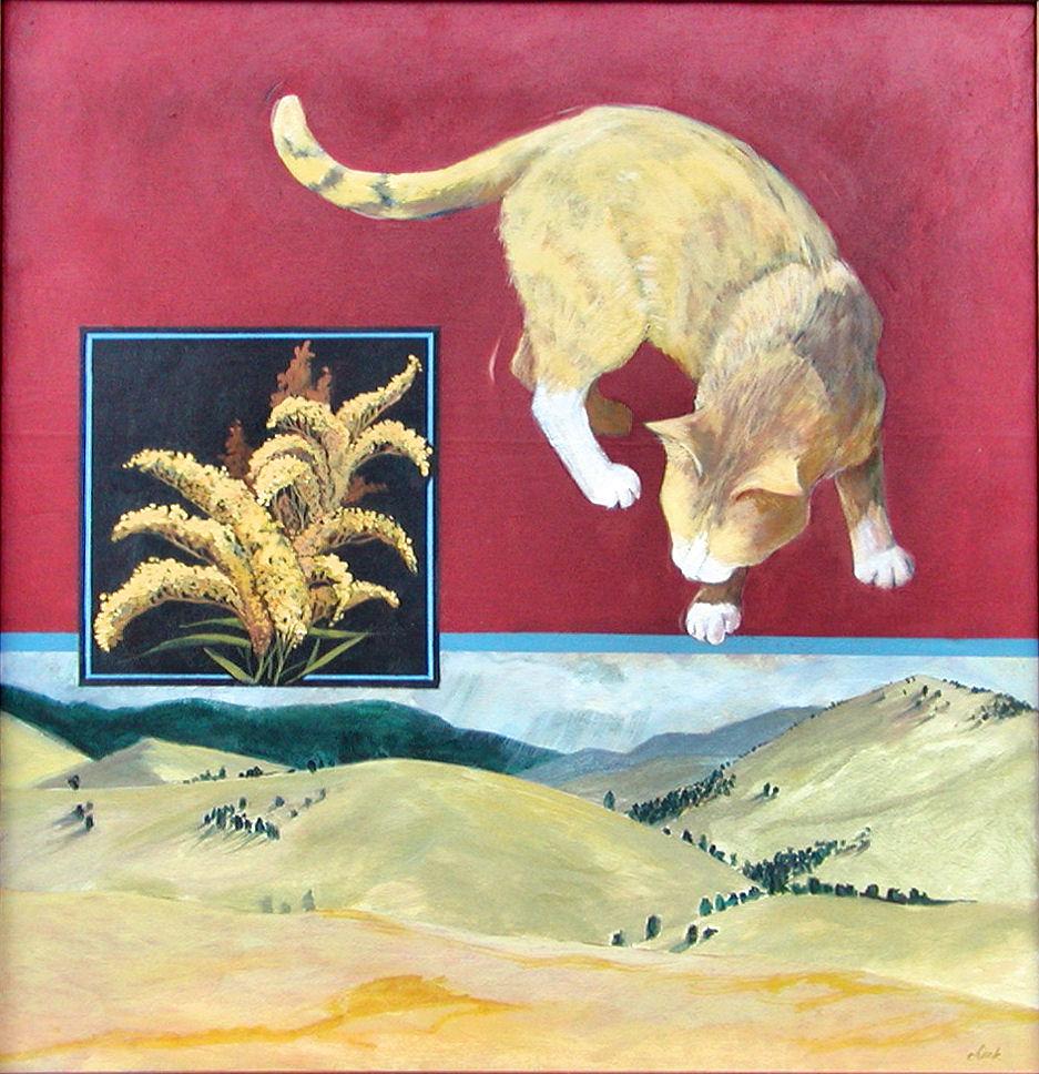 Goldenrod Cat, acrylic, 30x30, SOLD