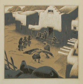 "Eagle Ceremony at Tesuque Pueblo"" by Gustave Baumann"