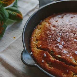 Cast Iron Buttermilk Corn Bread with Poblano Peppers