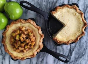 Cast Iron Buttermilk Pie with Whiskey Apple Compote