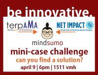Flyer for Net Impact's Mindsumo mini-case challenge.