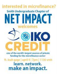 Flyer for Net Impact's Oikocredit speaker event.
