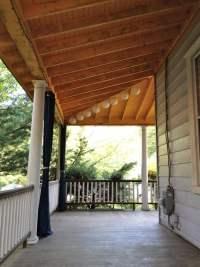 Victorian wrap around porch, porch ceiling, exposed beams ...
