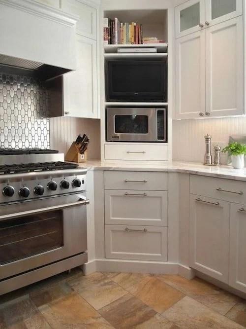 corner built in storage kitchen
