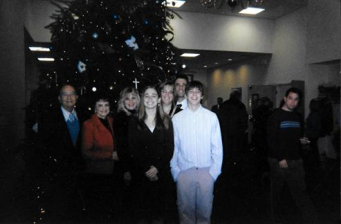 Christmas at Shadyrest Bible Church, Chesterfield, New Jersey, 2008. Left to right: Pop-Pop, Mom-Mom, Aunt Karen, Me, Mom, Dad, Rob
