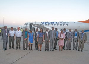 Dignitaries arriving in Malawi on Proflight Zambia's inaugural flight from Lusaka to Lilongwe