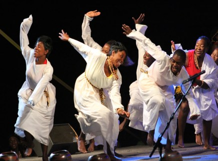 National dance ensemble perform during the official opening of he UNWTO General Assembly at Victoria Falls hotel on Sunday