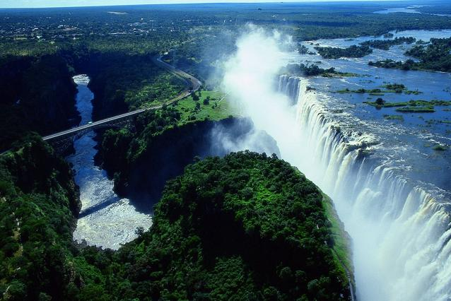 Victoria Falls with the famous bridge that forms the border post between Zambia and Zimbabwe