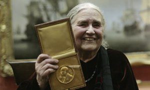 Doris Lessing with her prize insignia of the 2007 Nobel prize in literature. Photograph: Shaun Curry/AFP/Getty Images